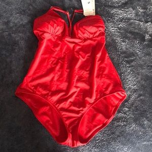 Athleta sexy red loop back one piece swimsuit
